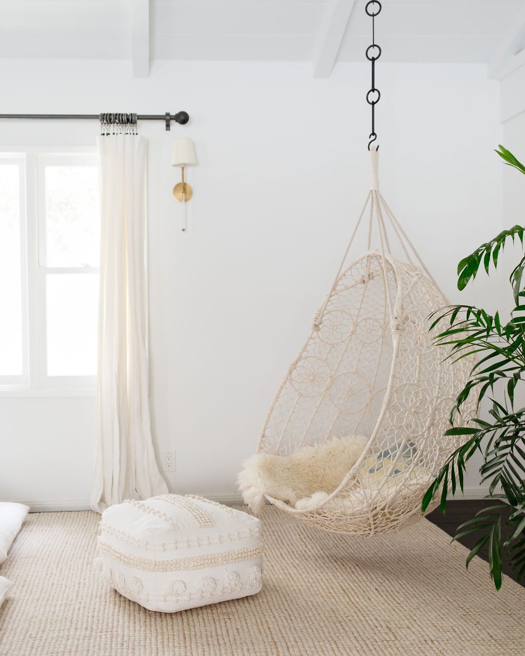 los angeles interior designer casual comfortable meditation space hanging chair bohemian