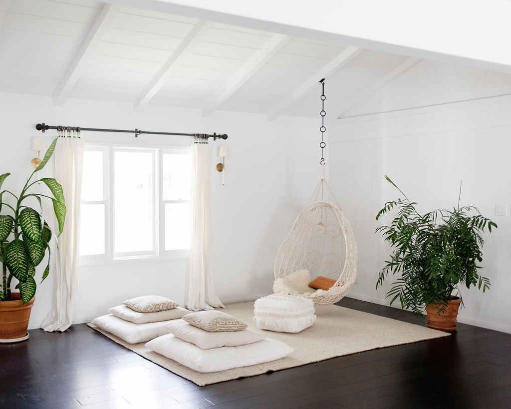 los angeles interior designer casual comfortable hanging chair bohemian meditation space