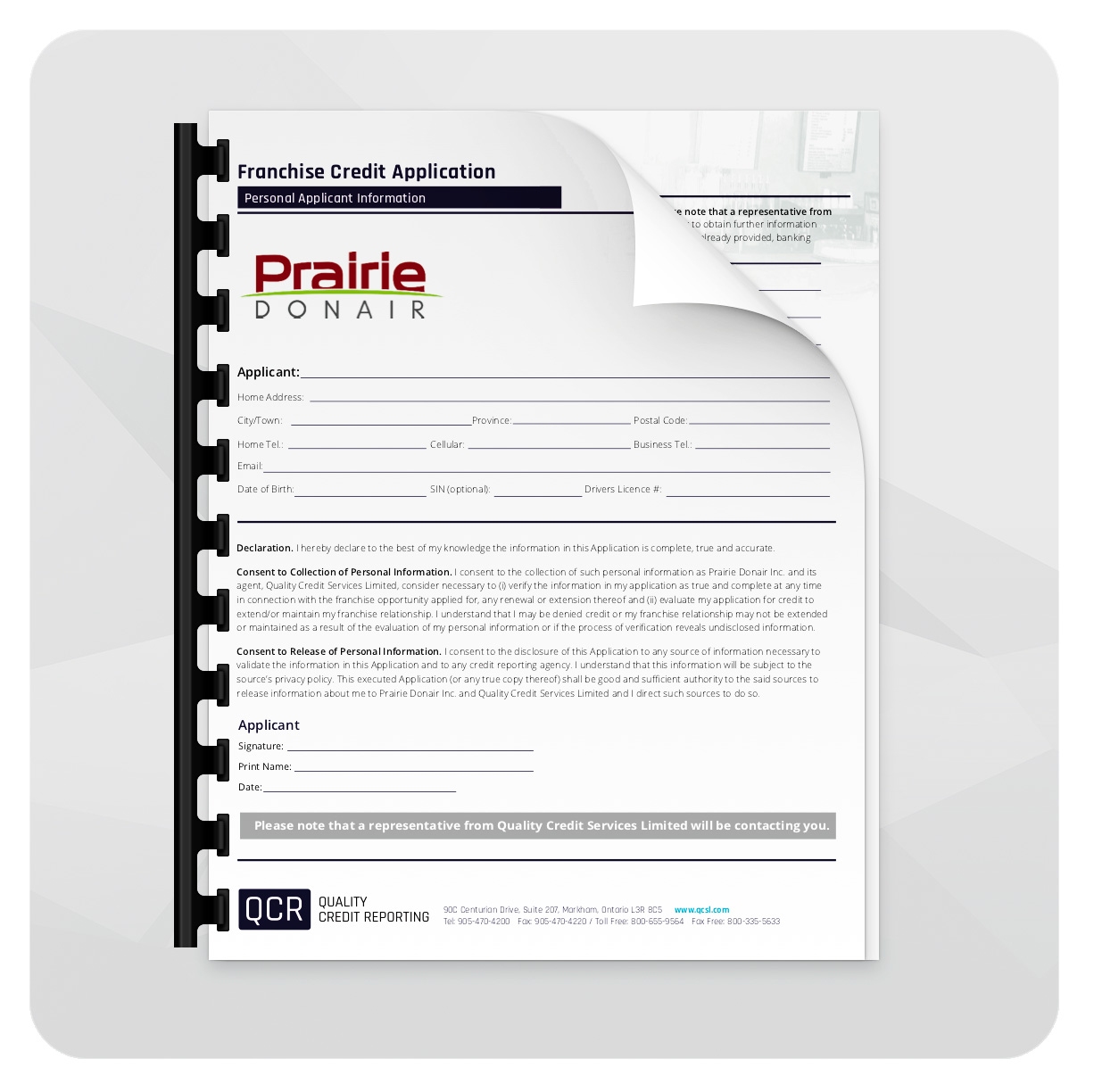Prairie Donair Credit Application -