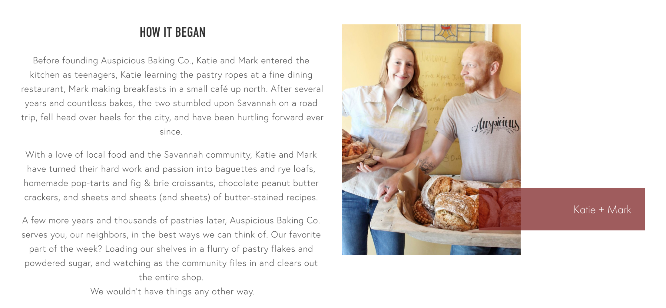 Copywriting — Auspicious Baking Co.'s Website