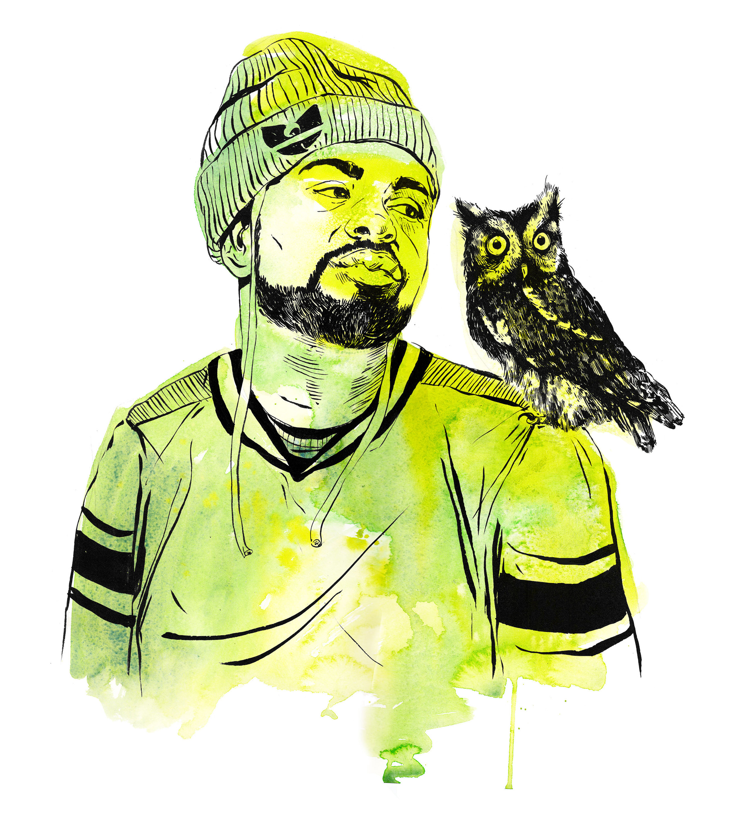 Method Man with Eastern Screech Owl for 8-Bit Gallery Los Angeles, Ink & Watercolor 2017