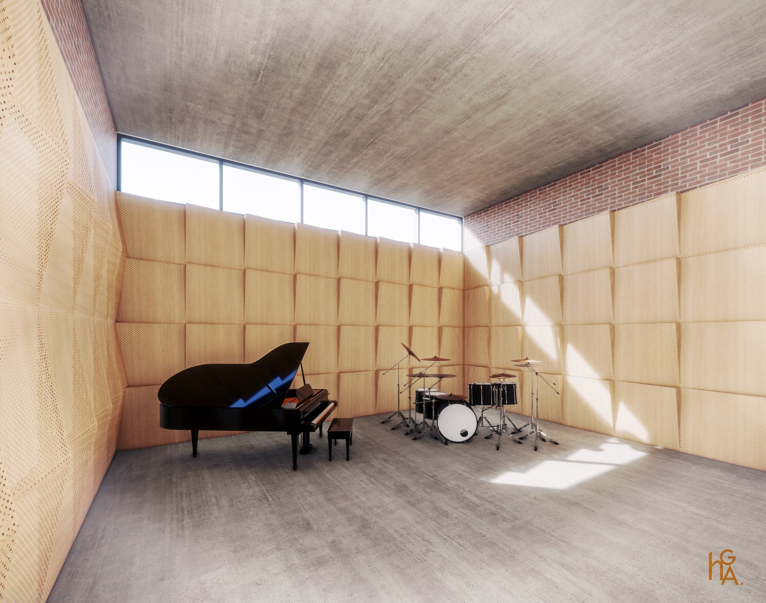 Fourth Wall Rehearsal Room Rendering—by HGA (Hammel, Green and Abrahamson)