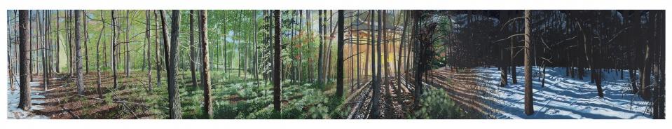 FOUR PLAY, 2015-2016, Acrylic & oil on linen triptych, 48×288