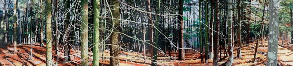 BORDERLINE – full view, 2006-2007, acrylic and oil on canvas, 36 x 160 (diptych)