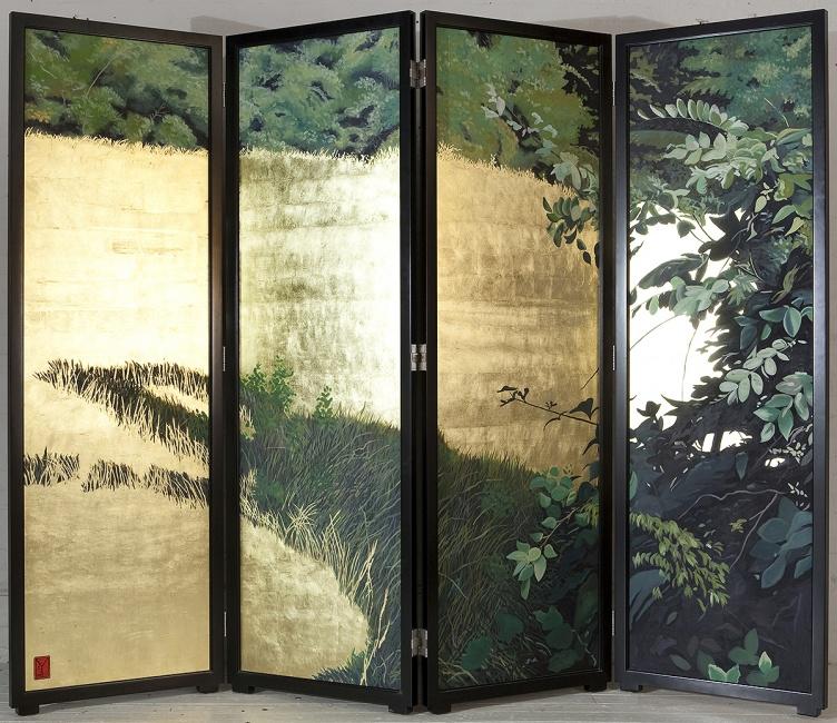 TAVOLETTE (Day), 2003, oil and metal leaf on wood, 7′ x 9'