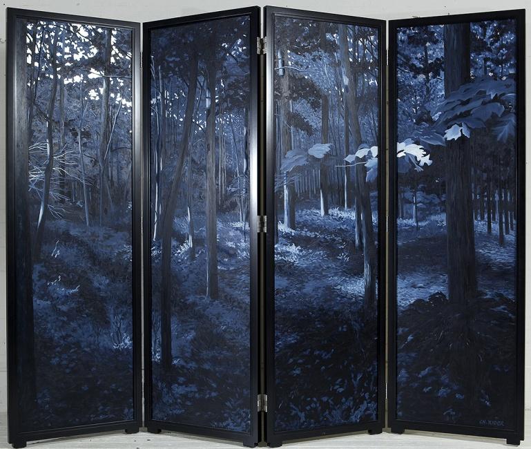 TAVOLETTE (Night), 2003, oil and metal leaf on wood, 7′ x 9′