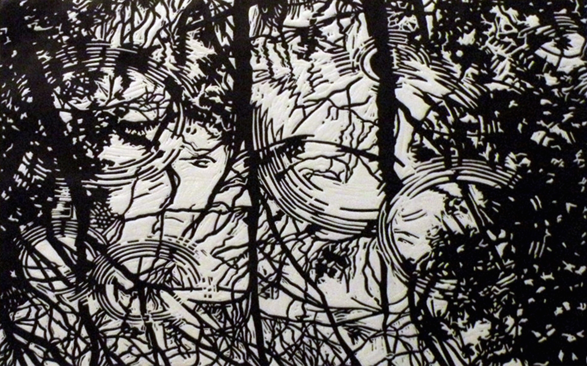 Charles Yoder,  Tree Rings , 2012, one-color linocut, 16 x 26 in., edition 14.
