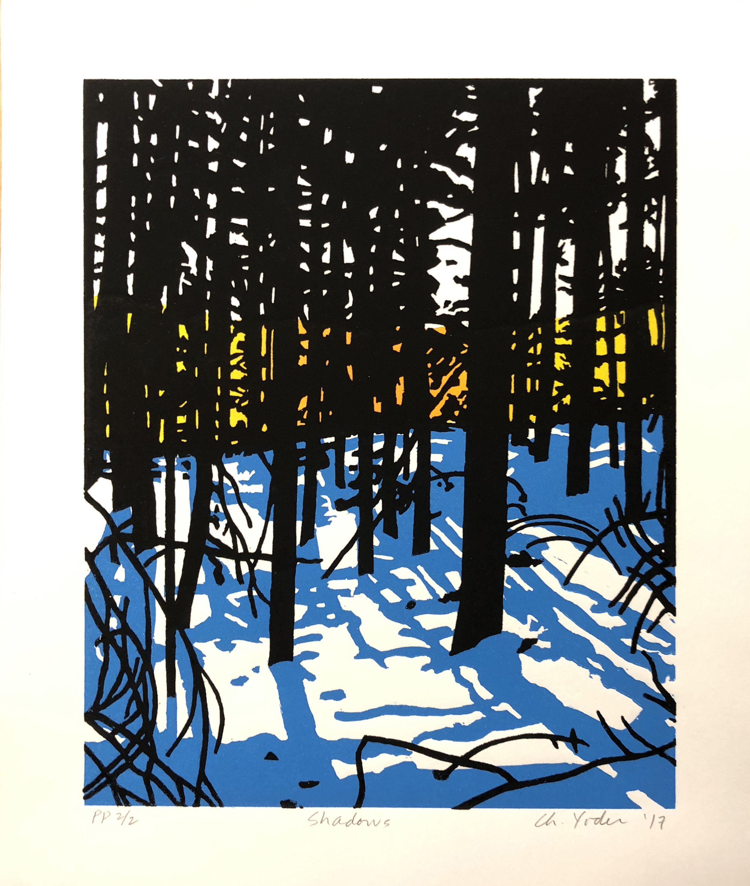 "SHADOWS, 2017, 3-color linocut and silkscreen, 13 1/2"" x 10""  10 Artist's Proofs"