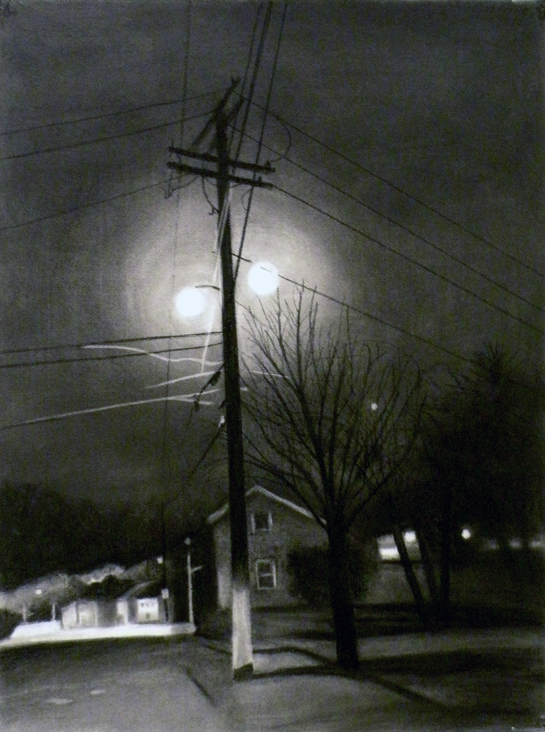 "TOWN WITHOUT PITY, 2018, Charcoal on paper, 24"" x 18"" unframed, 31"" x 25"" framed"