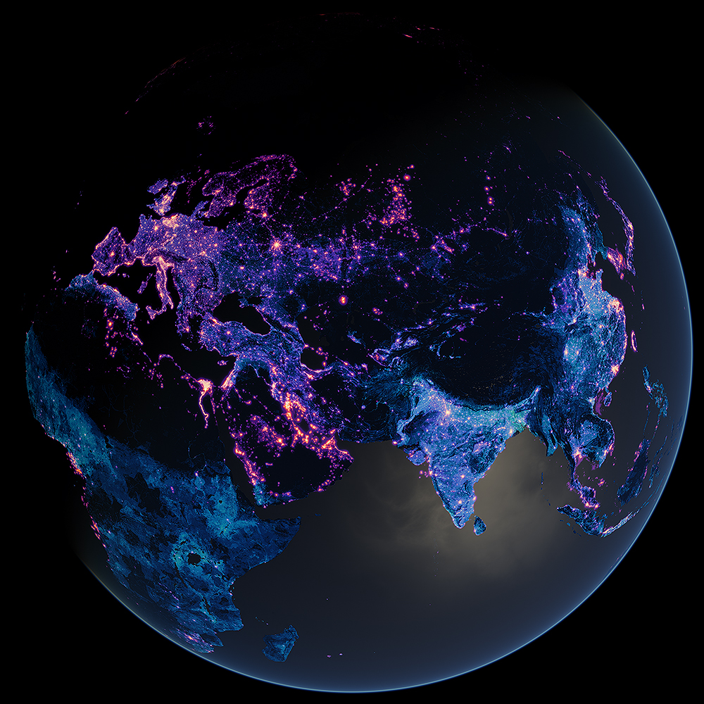 Light pollution and population