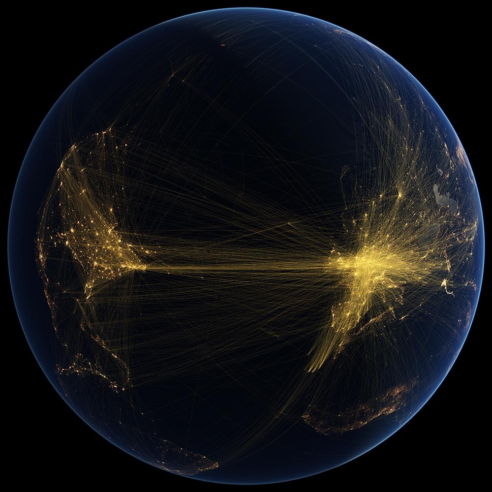 Transatlantic air routes