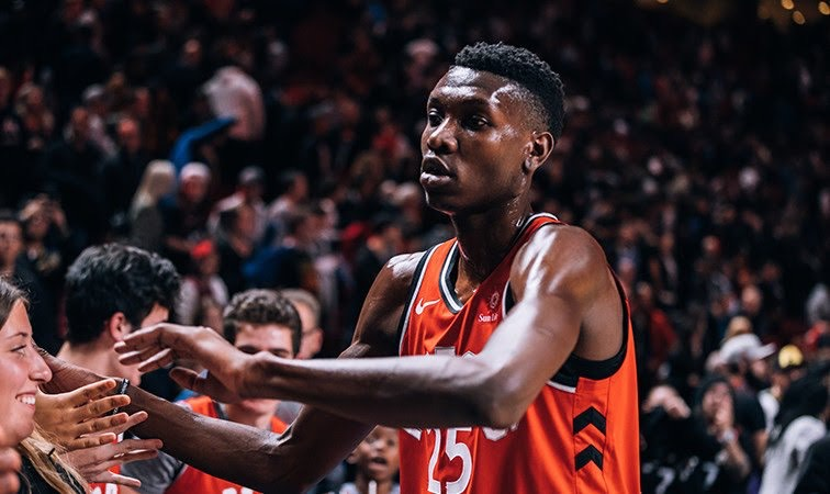 Chris Boucher at NBA Canada Series in Montreal in 2018