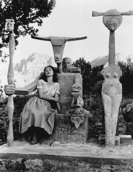 Dorothea Tanning & Max Ernst with his sculpture, Capricorn