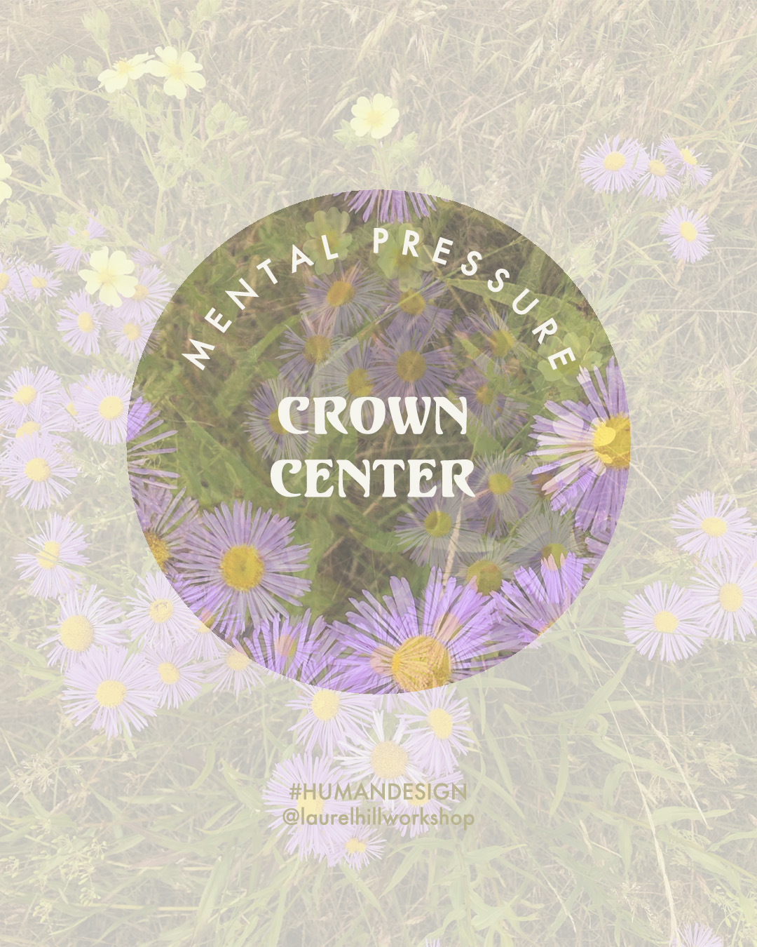 The Crown Center . Laurel Hill Human Design  Pressure from our Crown fuels amazing insights and discoveries and the joy of taking in the world around is, but it can also lead to anxiety in the Ajna/Mind, so the trick here is to acknowledge the flow of mental pressure without letting it take the reins. Anxiety, overthinking, and fretting about the past and future are valuable signposts that we can realign our energy, taking a step back and asking ourselves if we're actually thinking about problems that matter for us, or are we grasping at *anything* to relieve the pressure of finding *something* to focus our attention on.