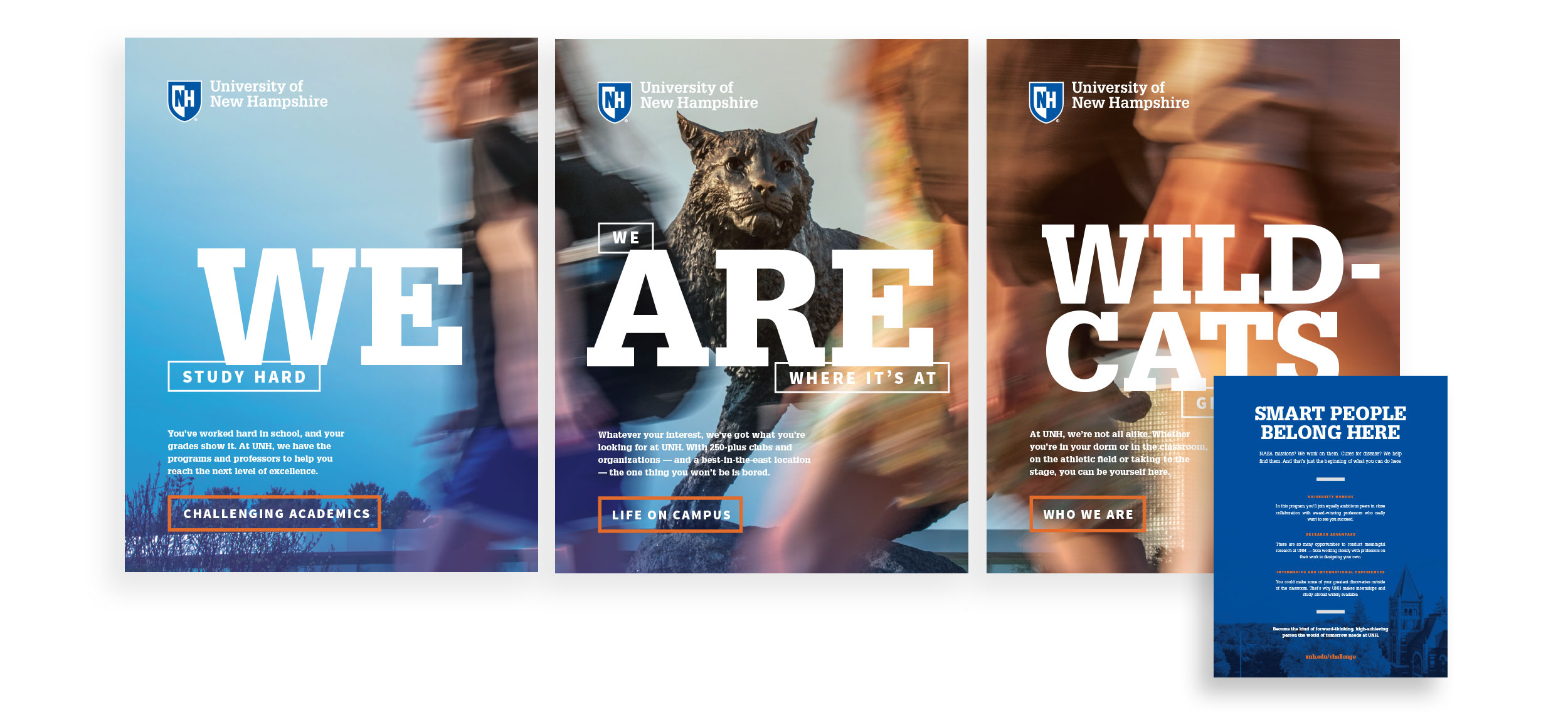 UNH Student Recruitment Work - We Are Wildcats Admissions Lobby Print Collateral - Loren Marple