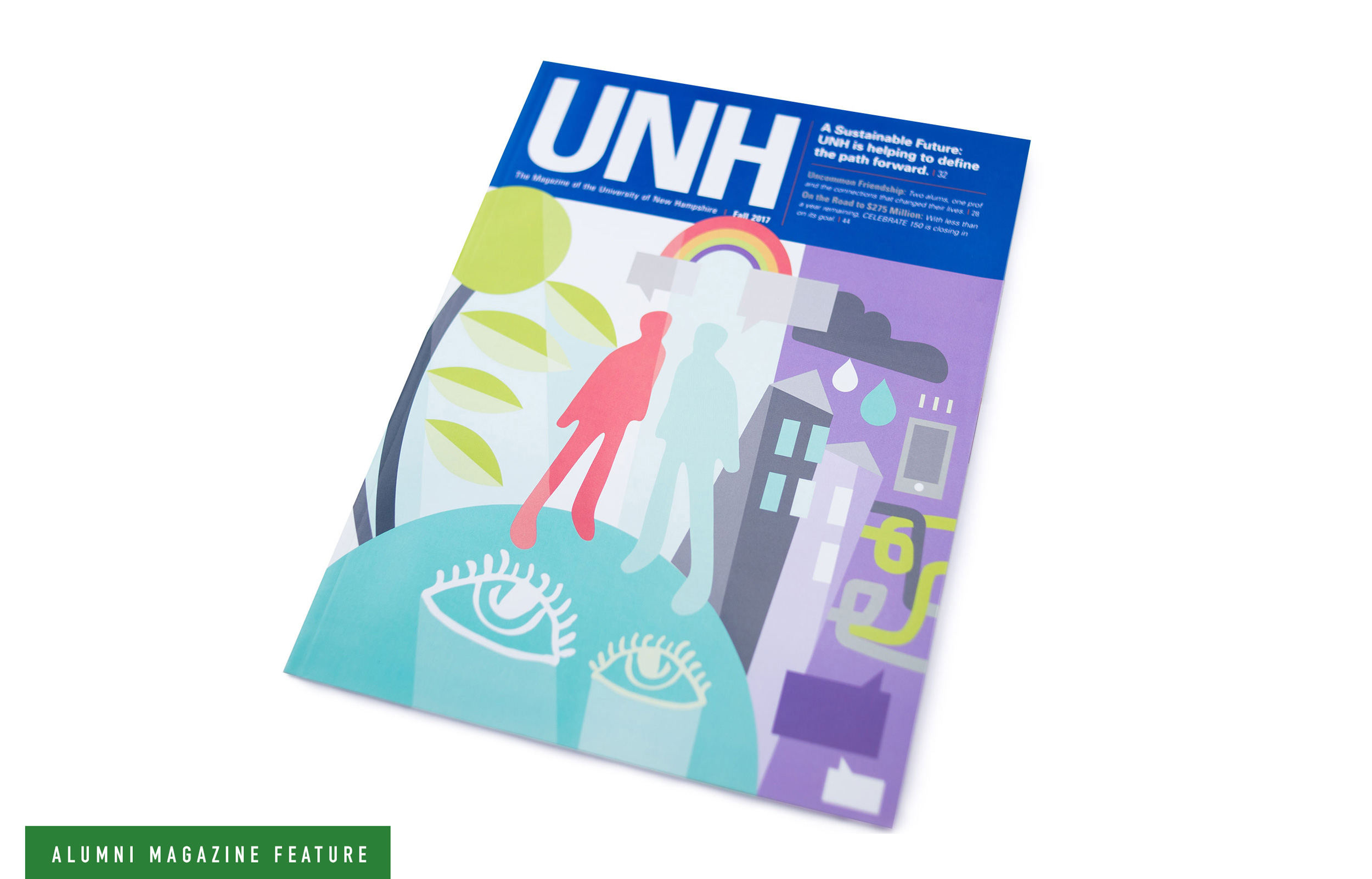 UNH Alumni Magazine Sustainability Feature Cover Illustration - Loren Marple