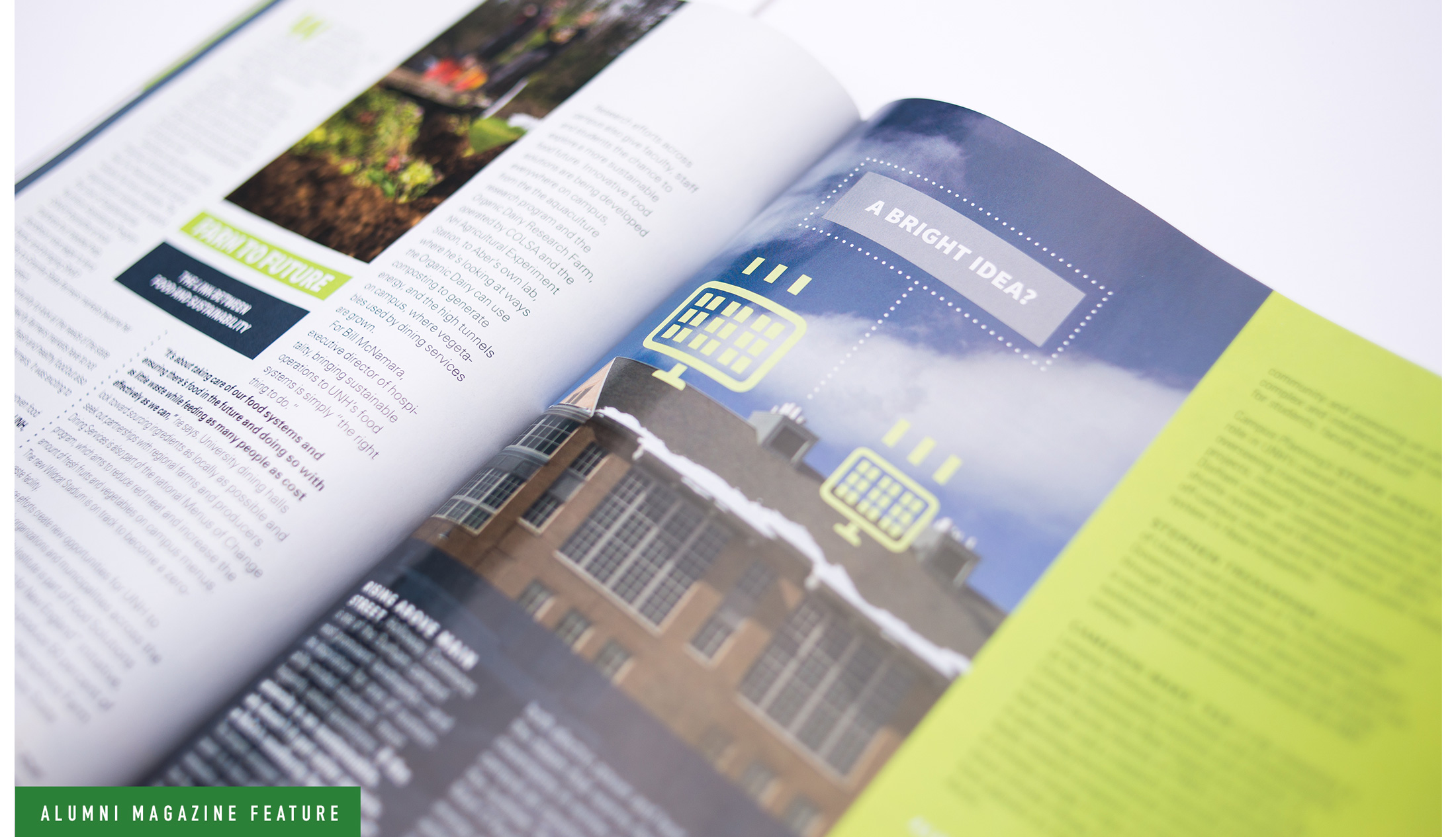 UNH Alumni Magazine Sustainability Feature Spread 1 Design and Illustration - Loren Marple