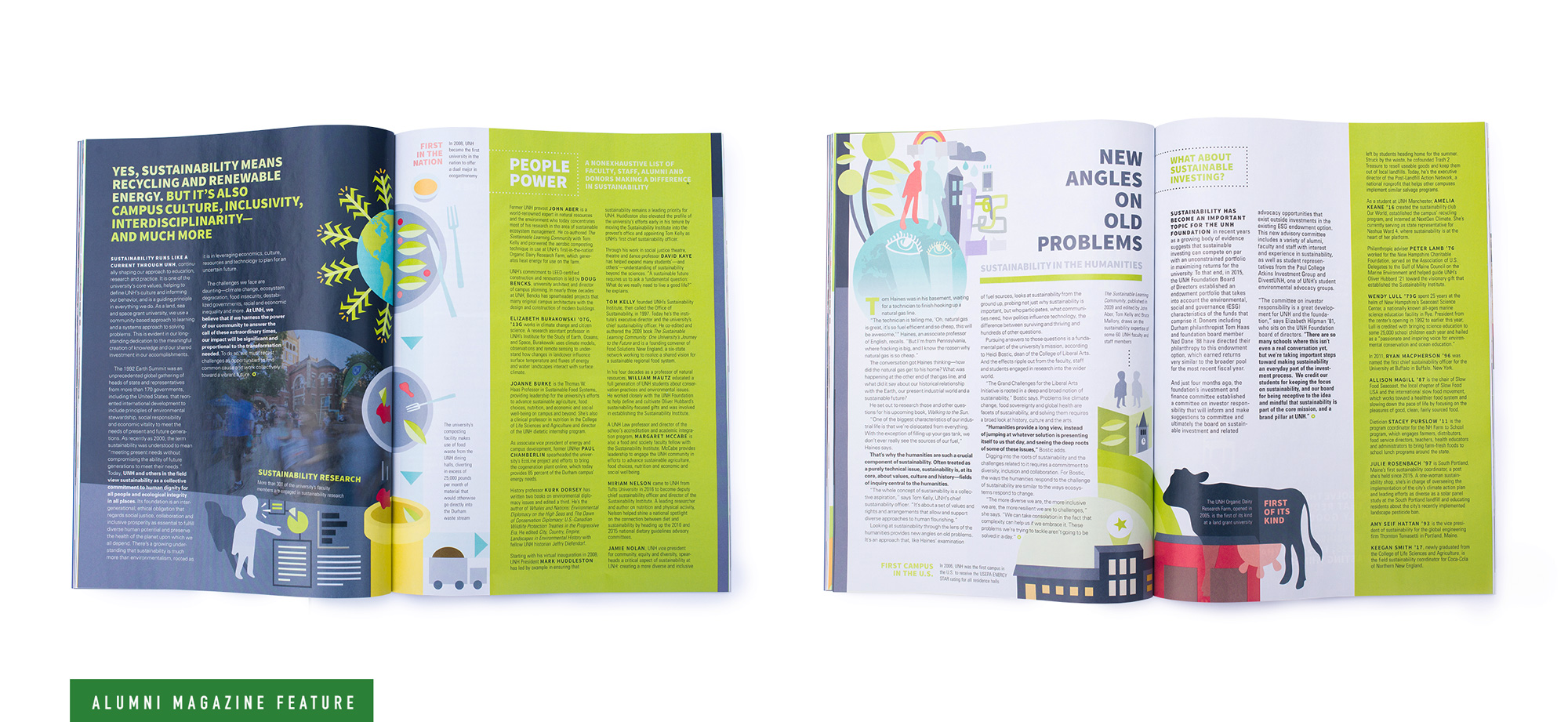 UNH Alumni Magazine Sustainability Feature Spreads 2 and 3 Design and Illustration - Loren Marple