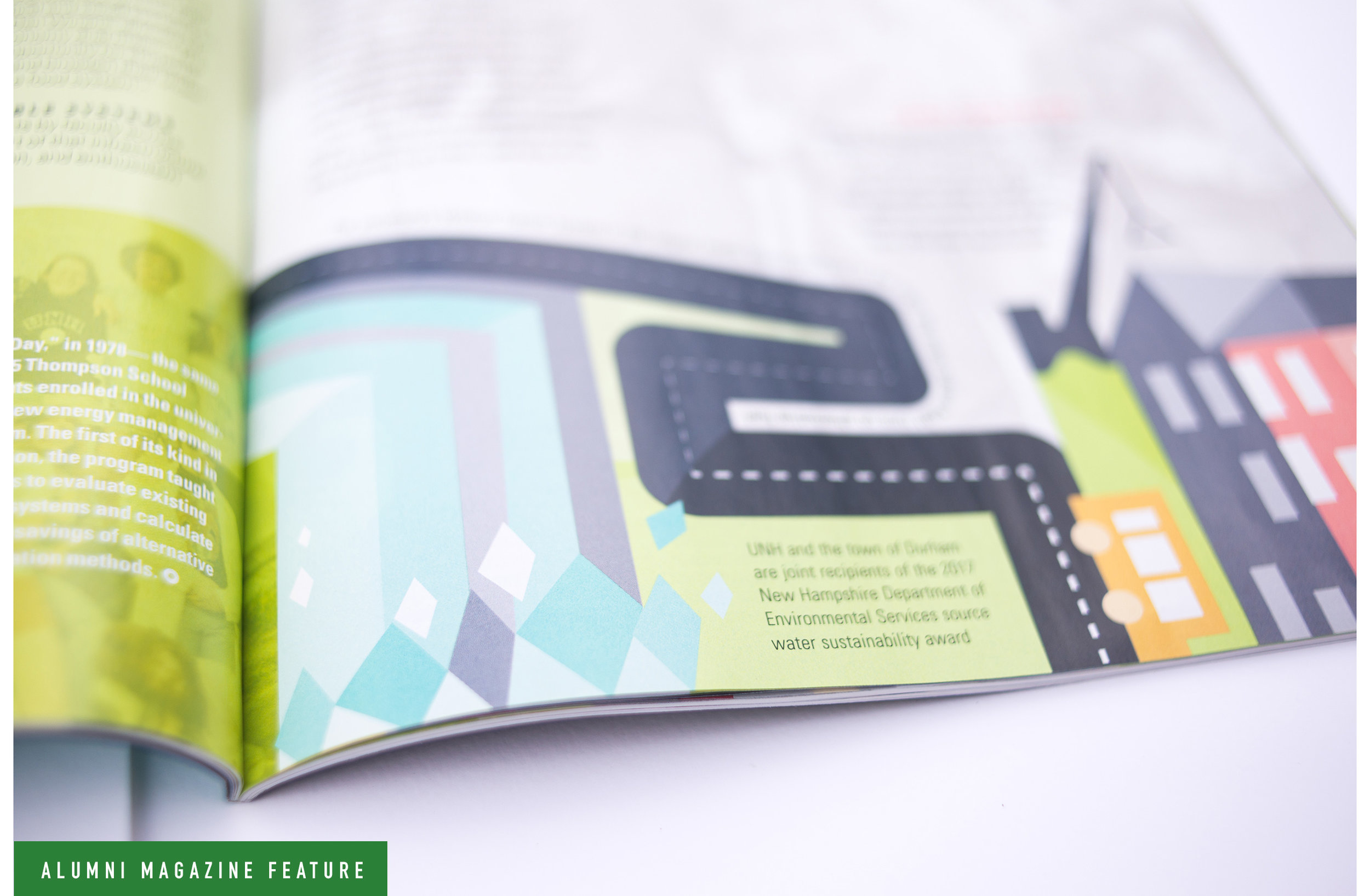 UNH Alumni Magazine Sustainability Feature Spread 4 Design and Illustration - Loren Marple