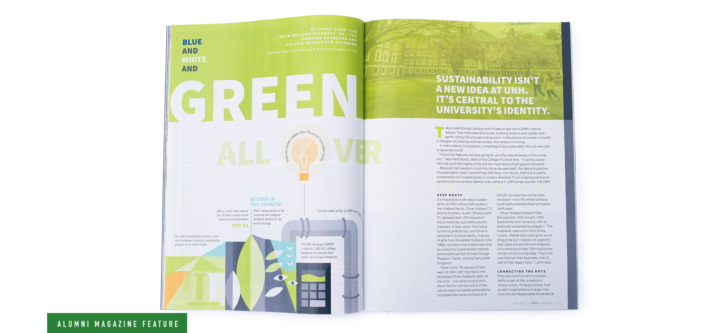 UNH Alumni Magazine Sustainability Opening Spread 2 Design and Illustration - Loren Marple