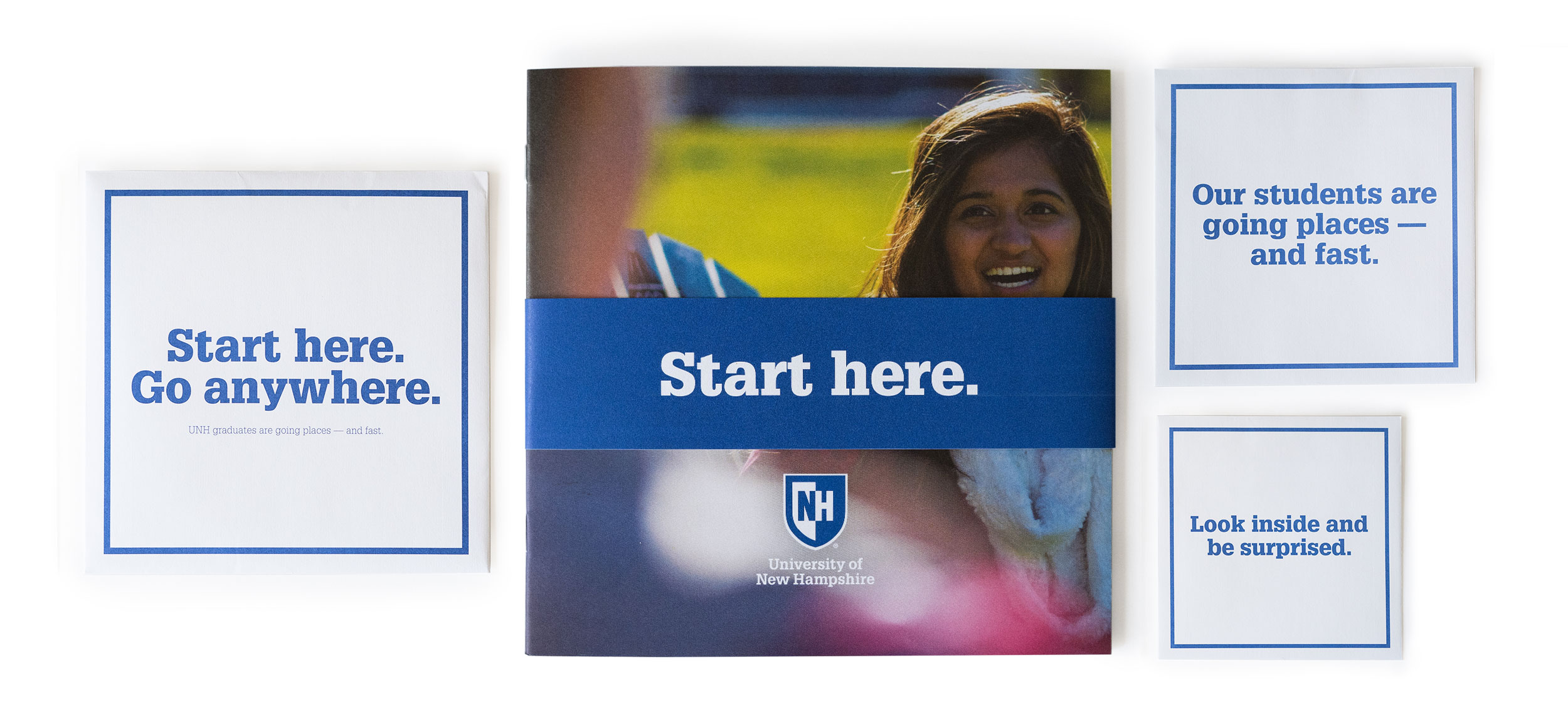 UNH Start Here Go Anywhere Student Recruitment Print Piece Cover and Envelope Design 2 - Loren Marple