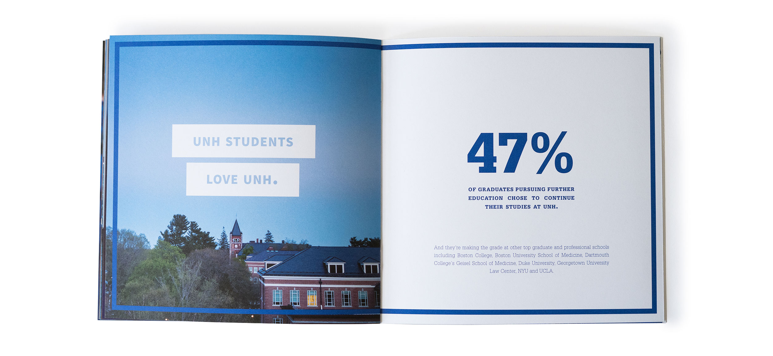 UNH Start Here Go Anywhere Student Recruitment Print Piece Spread 3 Design - Loren Marple
