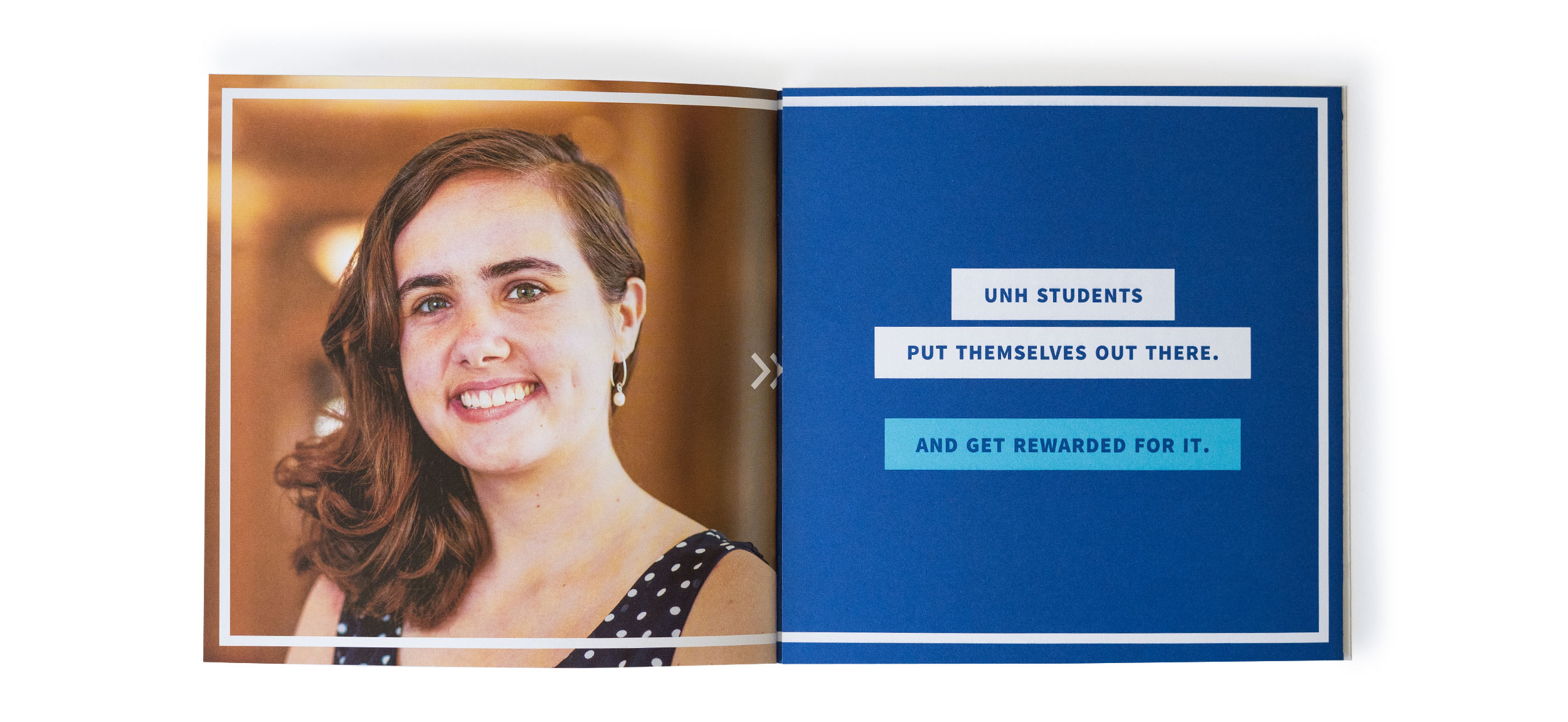 UNH Start Here Go Anywhere Student Recruitment Print Piece Foldout Spread Design - Loren Marple
