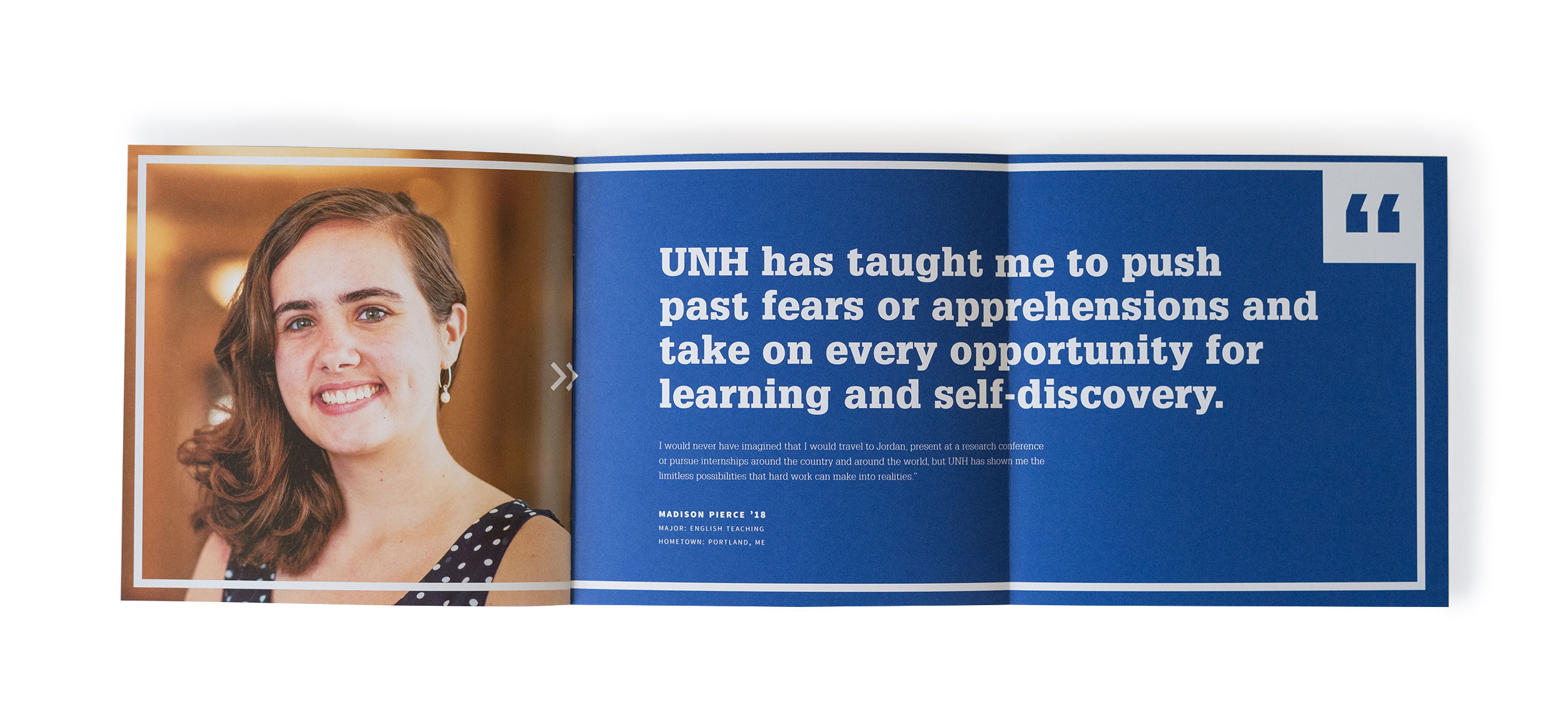 UNH Start Here Go Anywhere Student Recruitment Print Piece Foldout Spread 2 Design - Loren Marple