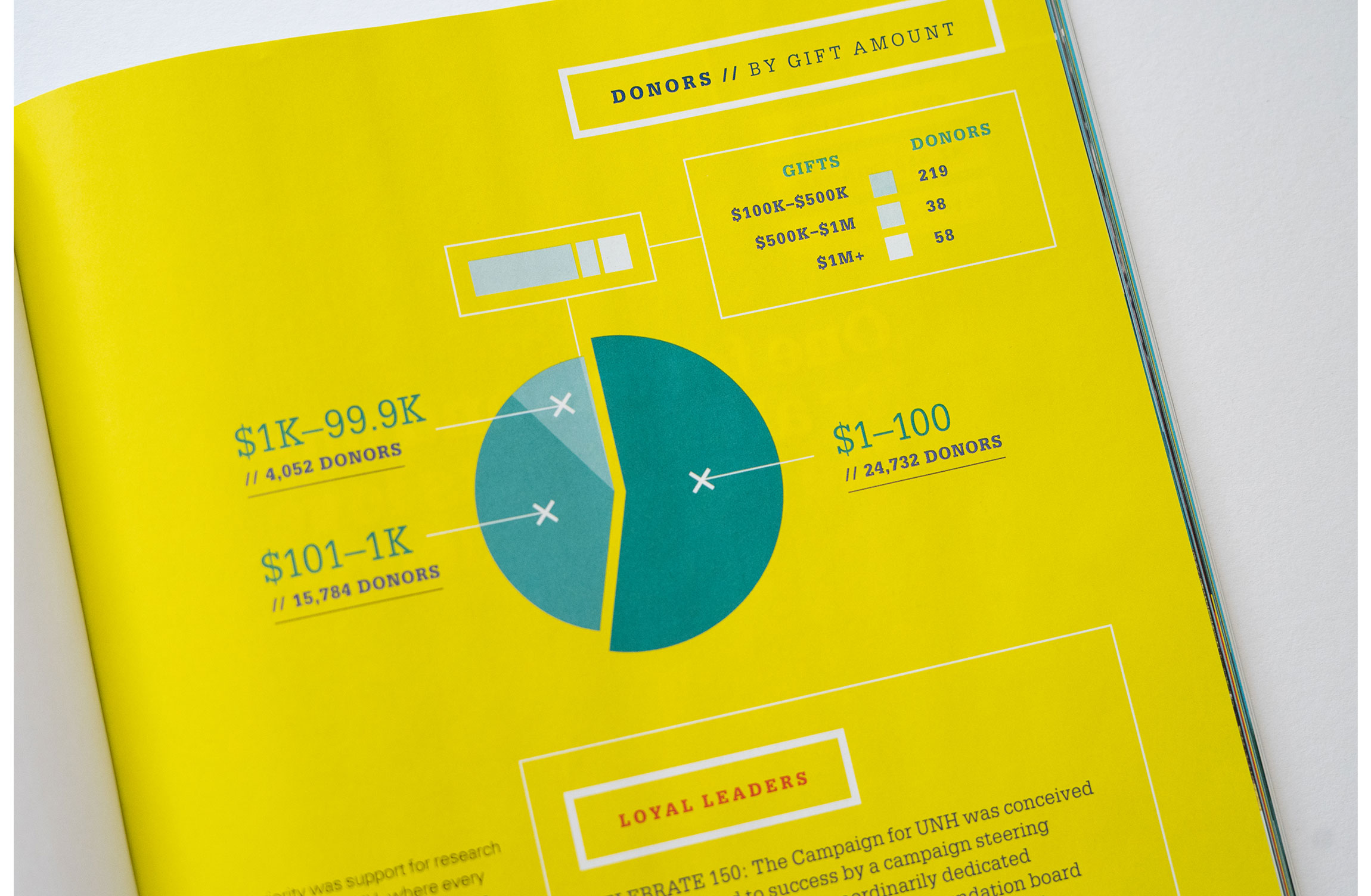 UNH Celebrate 150 Campaign Results Feature Design - Dollars and Donors Infographic - Loren Marple