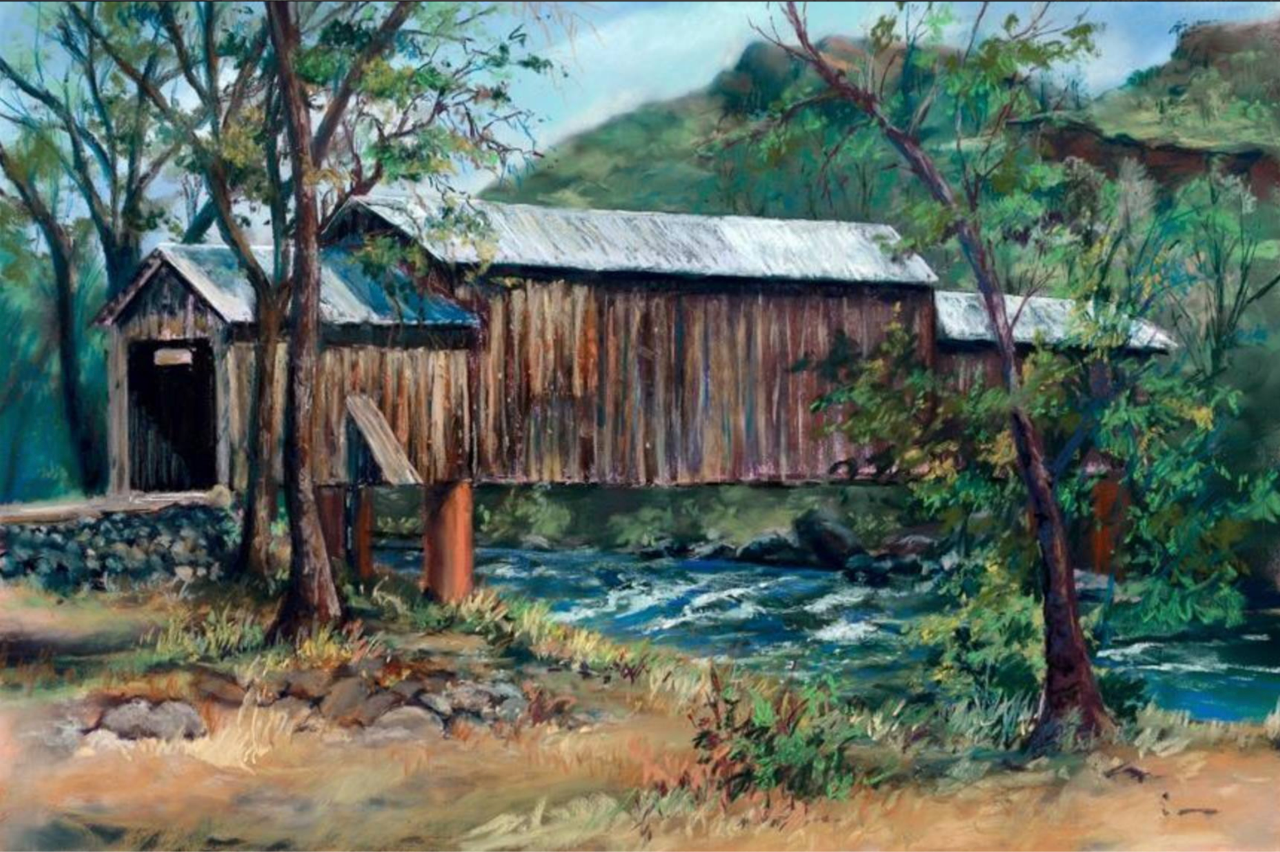 A painting of HA painting of Honey Run Covered Bridge in Butte Creek Canyon by local artist Janet Lombardi Blixt. Lombardi is raising funds by selling prints of the above painting. Funds go to support victims of the Camp Fire. You can purchase prints   HERE  .