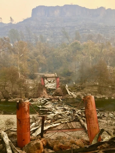 A photograph by Debra Lucero of Honey Run Covered Bridge after the fire damaged the bridge, taken Sunday, November 10th.