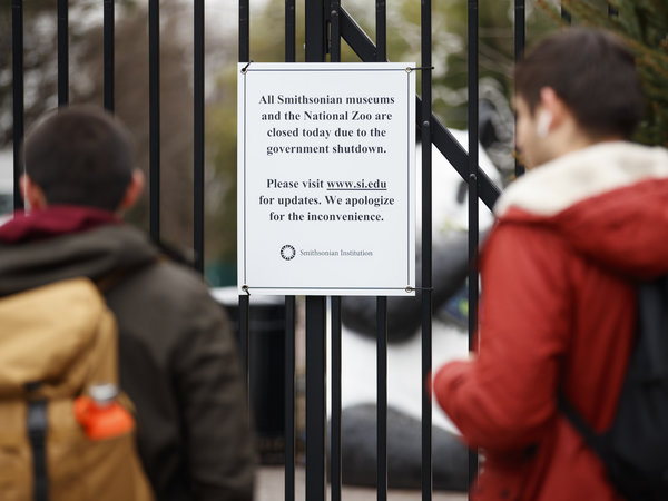 A sign posted outside the National Zoo earlier this month declares its closure, along with the closure of all Smithsonian museums. They were all on the wish list for Jill Rorem, whose family plans were undone by the shutdown. But she's not alone: The shutdown's ramifications on the arts have been felt far beyond the Beltway.  Carolyn Kaster/AP