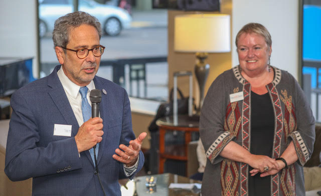 Assemblymember Richard Bloom accepts award as presented by Jessica Cusick