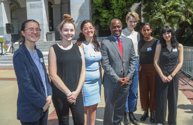 State Superintendent of Public Instruction Tony Thurmond with a highschool delegation on Arts Advocacy Day