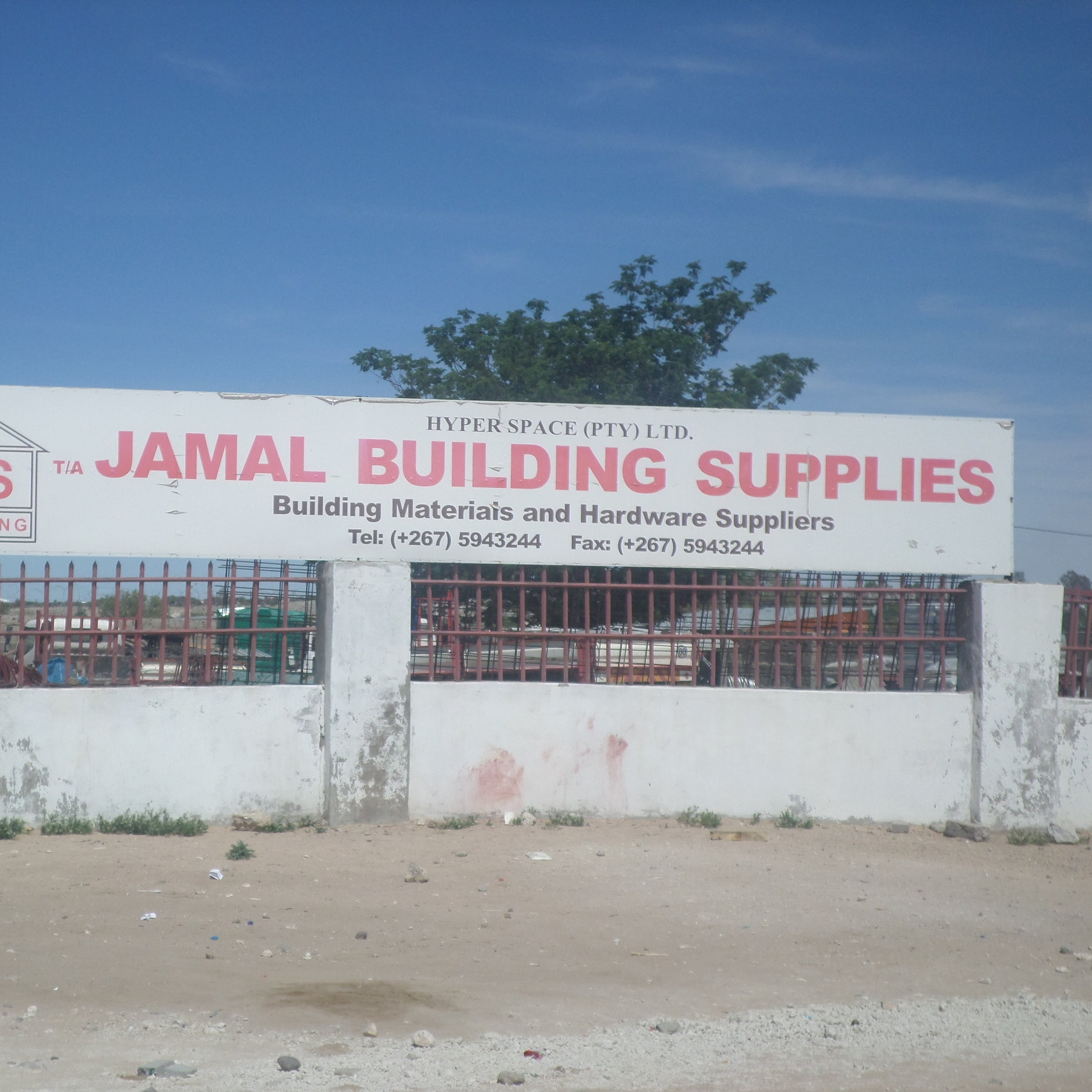 Jamal Building Supplies Hyper Space (PTY) Ltd - Service Description∙ Selling hardware, building materialsOpening Hours:Monday - Friday: 08.00 -17:00Saturday: 08:00 13:00Sunday: -Directions:Modimo WardContact: Mr. Bashir📞 (+267) 59 43 244✎ www.jamal.co.bw