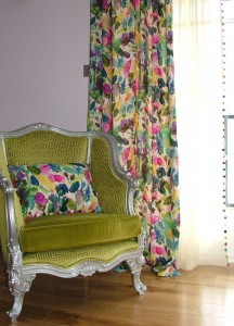 Bluebell Grey curtains and Cushion