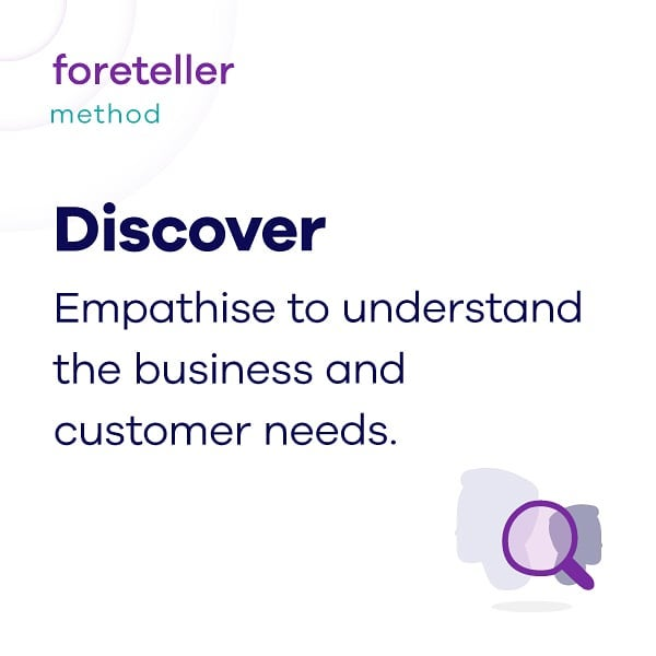 Meet foreteller's method.  #1 Discover : The Discover phase is one of the most important stages and more intense as it builds the foundation for the entire project. Through empathy and a solid set of research techniques we gain a deep understanding of each organisation context and its' customers specific needs. All obtained data lead us in accurately framing questions, problems, insights and opportunities.  #weareforetelle #Foreteller #servicedesign #businessInnovation #uxdesigner #designthinking #method #methodology #sharing #discover #empathy