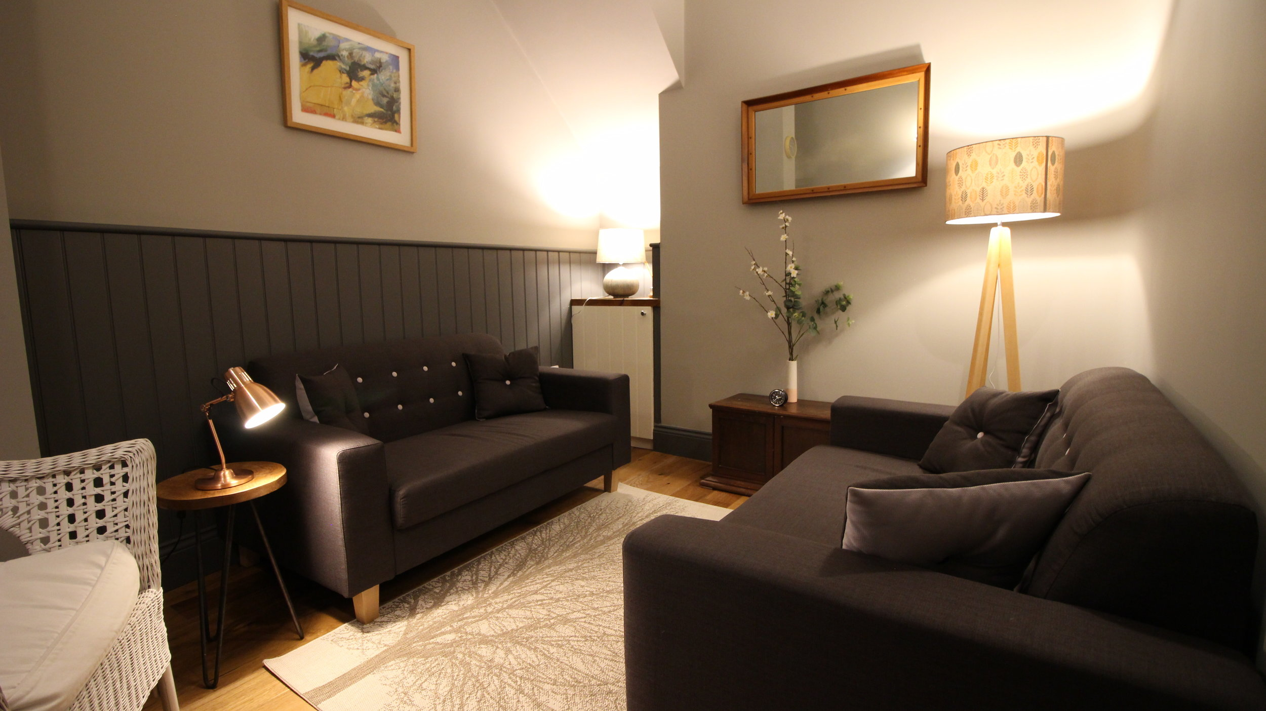Den - A room with high ceilings and lovely ambient lighting options, the Den has two sofas, an armchair and the option to add chairs, this room is suitable for work with couples or small groups of 5/6 people.