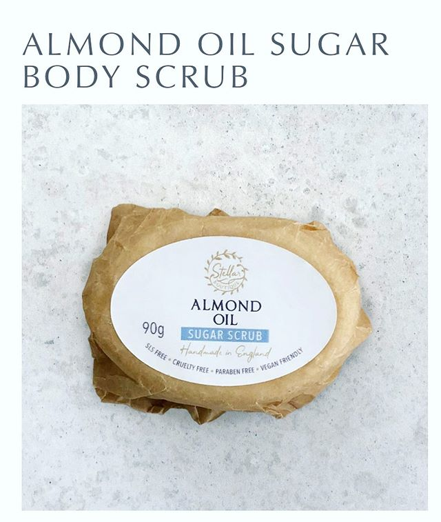 🥜 Almond body scrub 🥜  Our beautiful almond oil body scrub gets rid of hard, irritated skin. It's natural ingredients make this scrub really light and it leaves the skin feeling silky smooth. The bar lasts for 10 washes.  Keeping you Stellar 💚🌱