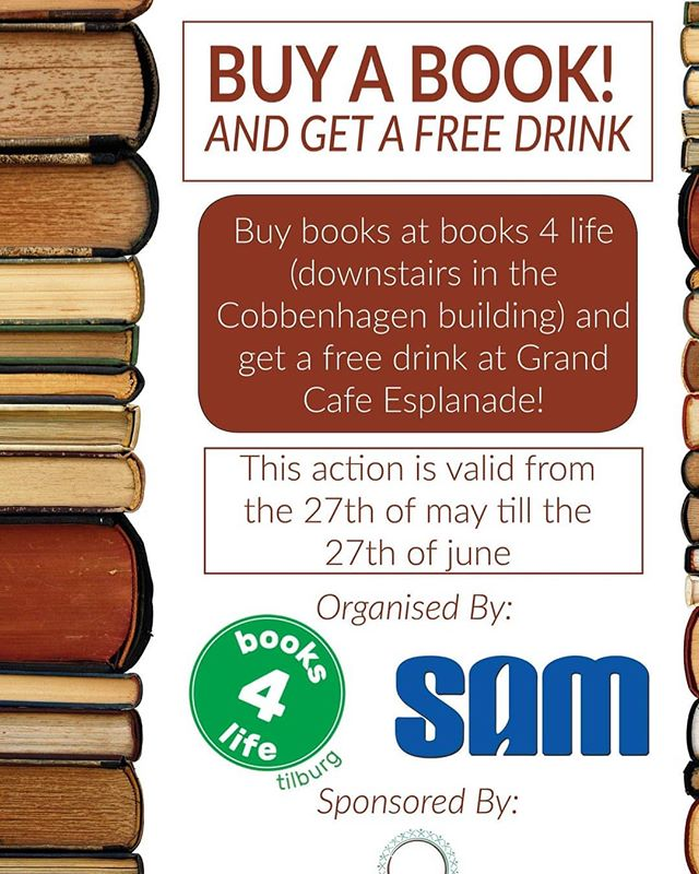 Don't forget to get your books for this summer holiday at books4life. The shop is in the cellar of the c building. All proceeds  will go to a good cause. And, if you spend 5,- you will get a free drink at Esplanade