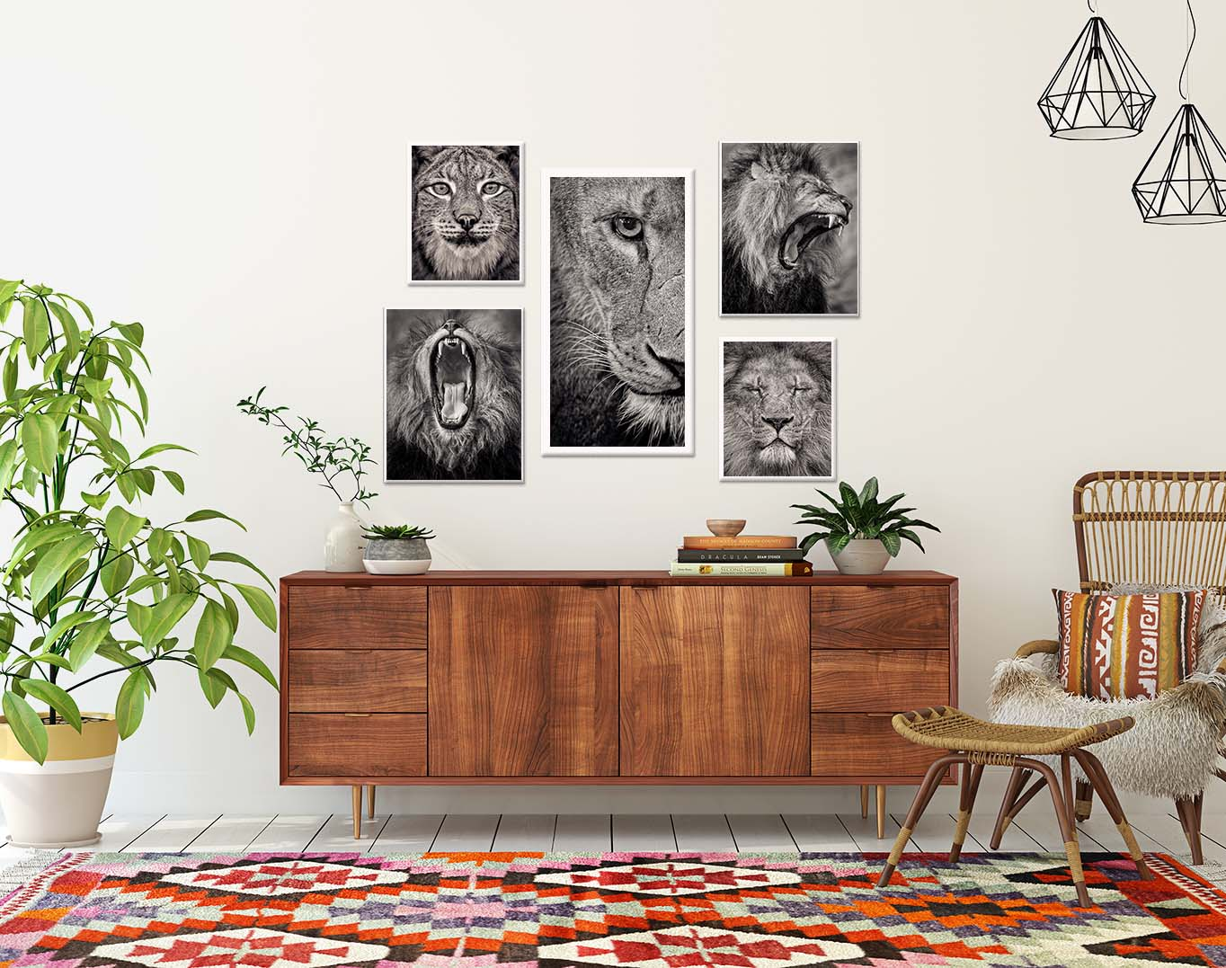 Lioness stalking. Black and white photographic print of a lioness by fine art photographer Paul Coghlin. Shown in a living room setting.