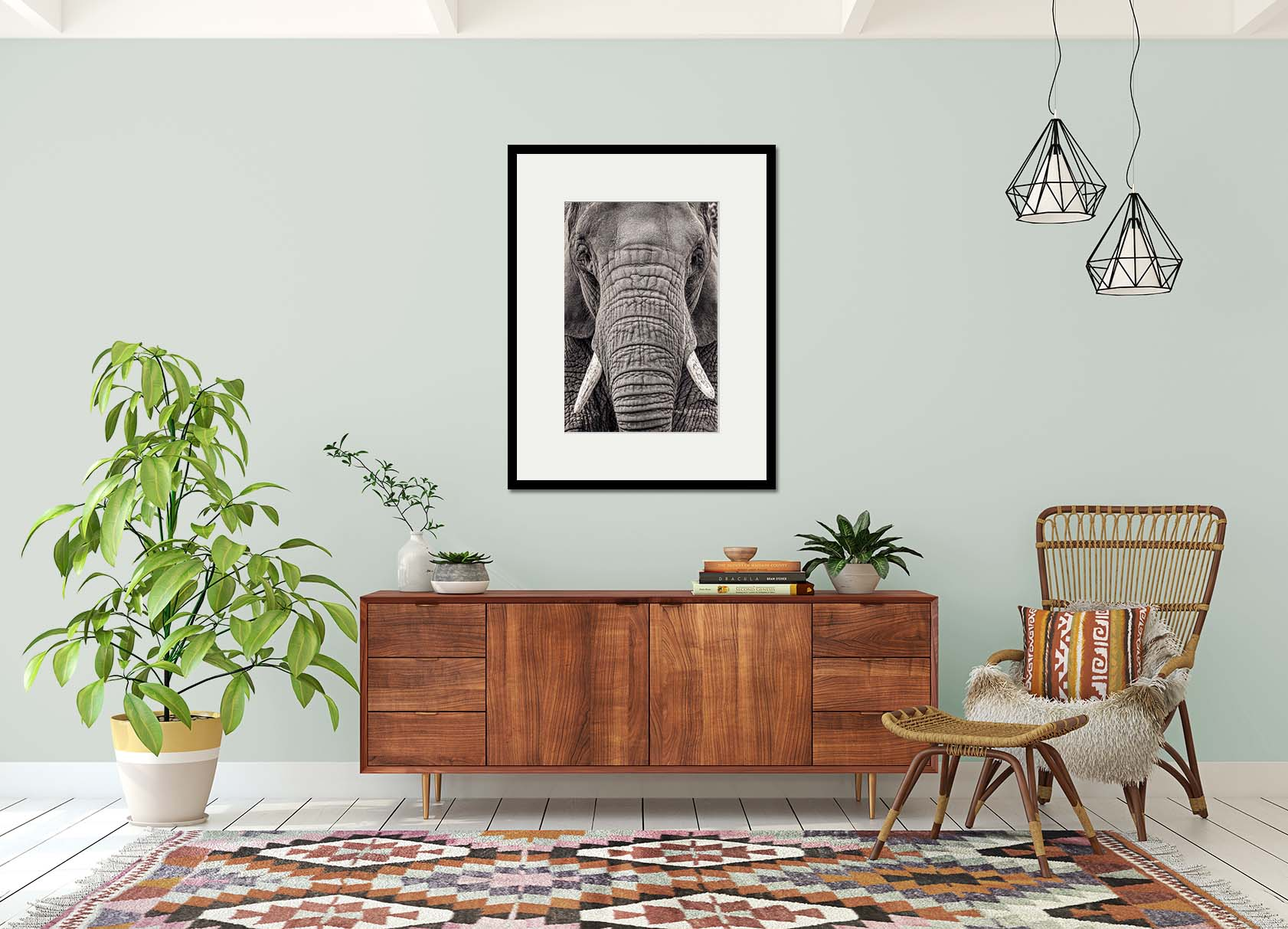 Portrait of an elephant. Limited edition photographic print by fine art photographer Paul Coghlin. Black and white print of an elephant in a sitting room setting.