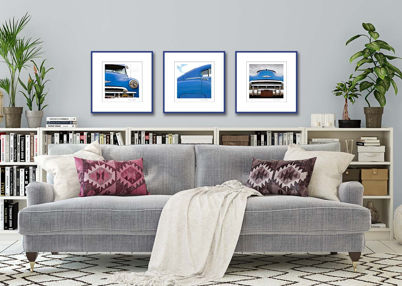 Three blue Chevy prints. Colour abstract photographic prints of a blue Chevy by fine art photographer Paul Coghlin. Limited edition photographic prints.