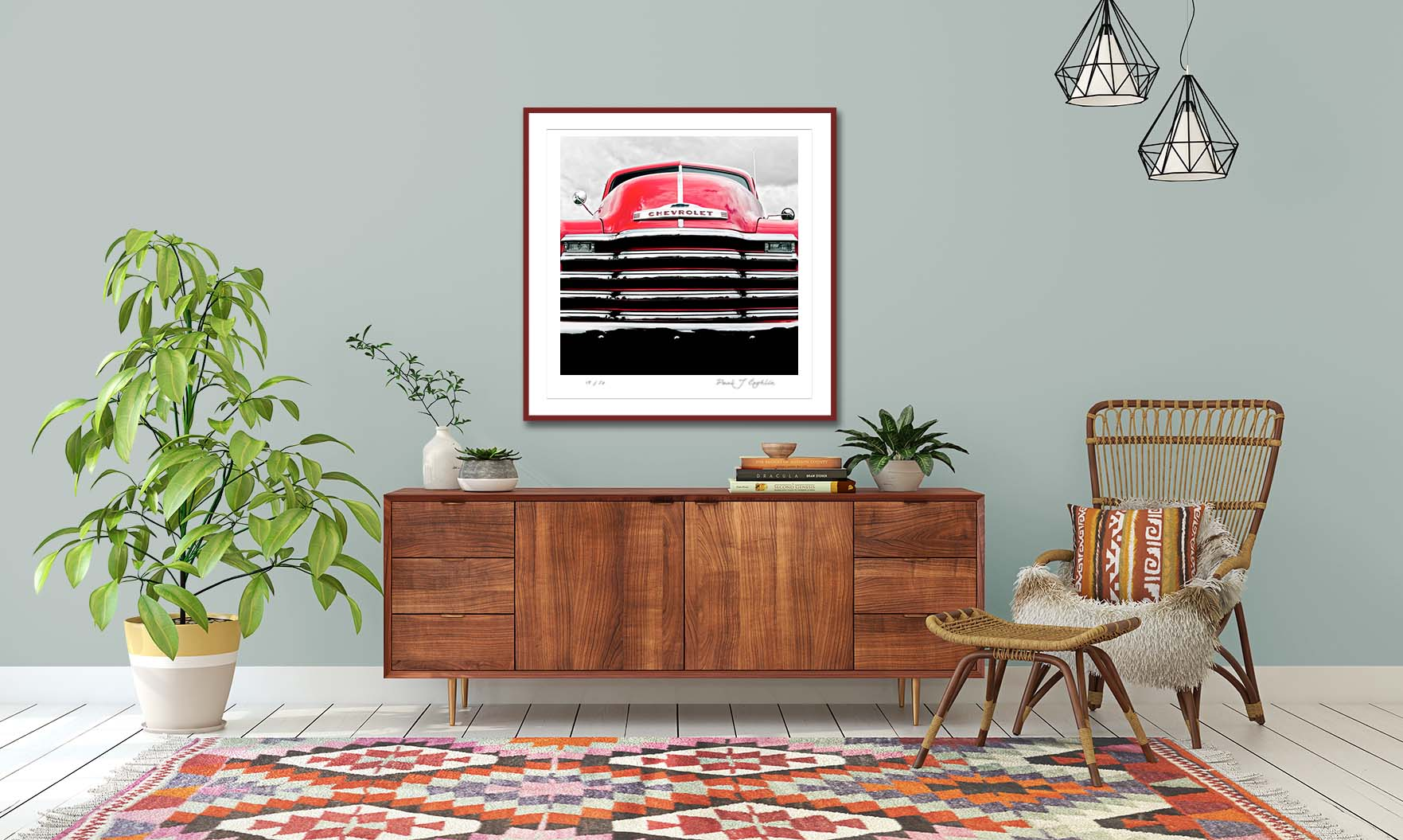 Red Chevy print. Colour abstract photographic prints of a re Chevy by fine art photographer Paul Coghlin. Limited edition photographic prints.
