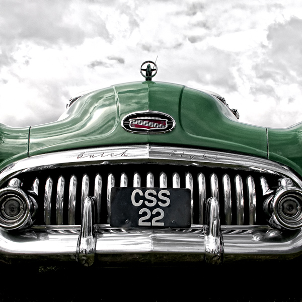 HR06 Green Machine I. Colour abstract photograph of a 1951 Buick Super Riviera by fine art photographer Paul Coghlin. Limited edition photographic prints.