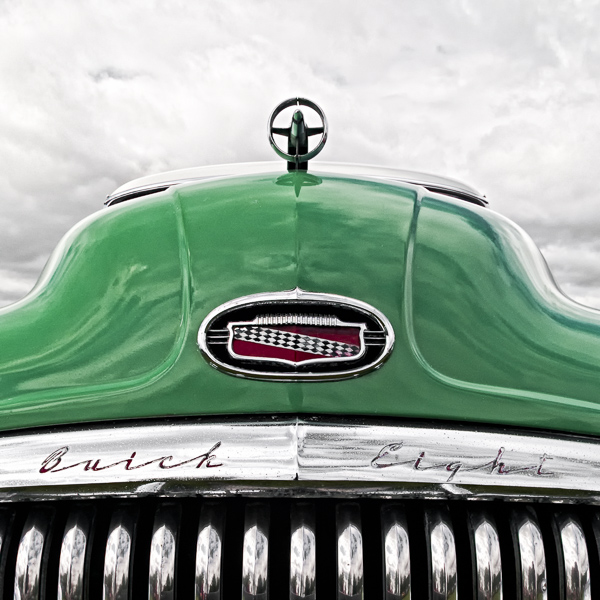 HR07 Green Machine II. Colour abstract photograph of a 1951 Buick Super Riviera by fine art photographer Paul Coghlin. Limited edition photographic prints.