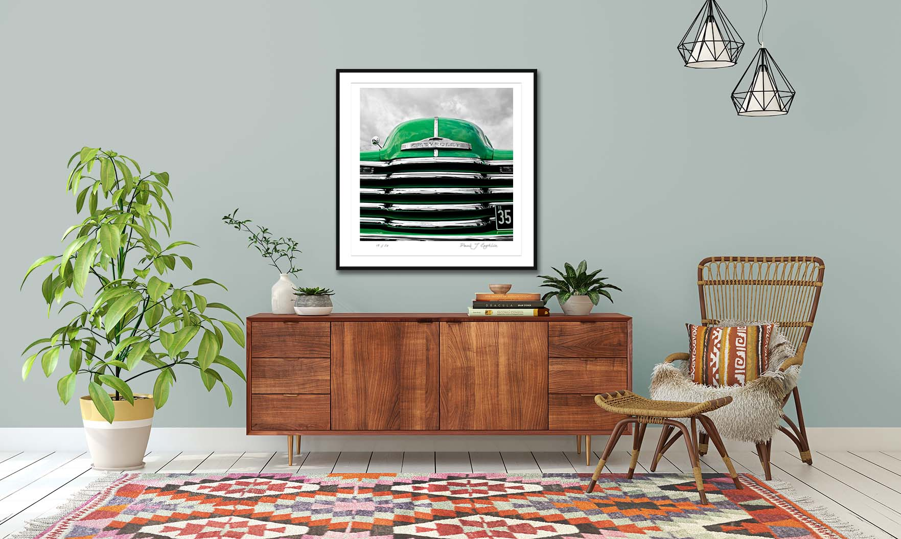 HR05 Green Chevy. A colour abstract photographic prints of a 1952 Chevrolet 3100 by fine art photographer Paul Coghlin. Limited edition photographic prints.