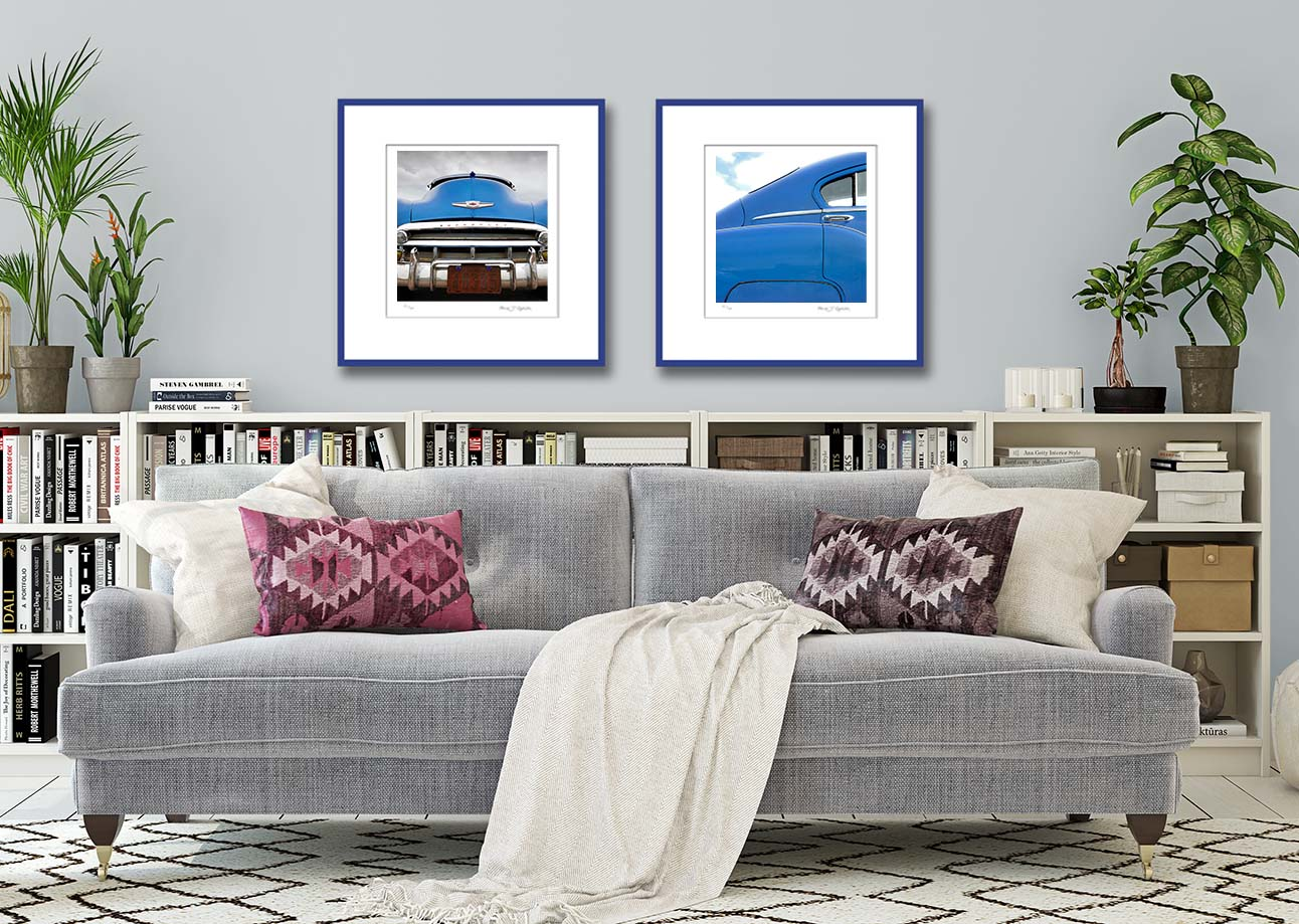 Blue Chevy. Limited edition prints of a 1950 blue Chevrolet Bel Air by fine art photographer Paul Coghlin.