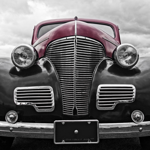 HR09 Red and Black. Colour abstract photograph of a 1939 Chevrolet Master Deluxe Town Sedan by fine art photographer Paul Coghlin. Limited edition photographic prints.