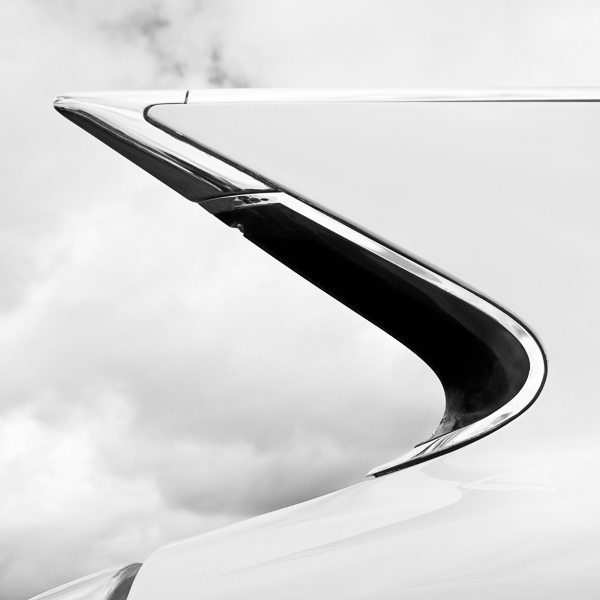 HR12 Tailfin, Study I. Colour abstract photograph of a 1960 Cadillac Eldorado Biarritz tailfin by fine art photographer Paul Coghlin. Limited edition photographic prints.